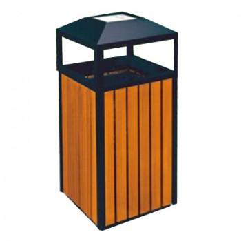 Sọt đựng rác bằng gỗ có khay gạt tàn thuốc lá ngoài trời