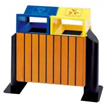 Sọt đựng rác gỗ hai ngăn có mái che