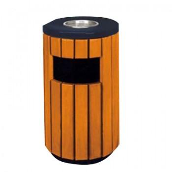Sọt rác tròn bằng gỗ công cộng có khay gạt tàn thuốc lá