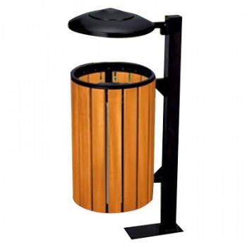 Thùng rác gỗ trụ thép cố định