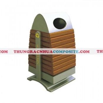 Thùng rác bằng thép ốp gỗ cao cấp