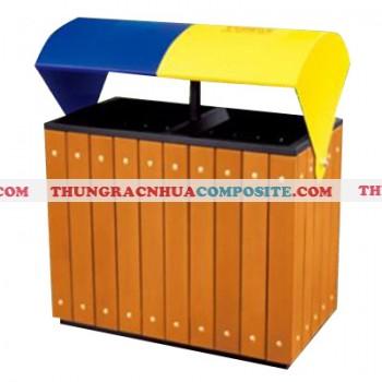 Thùng rác gỗ hai ngăn phân loại rác có mái che