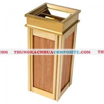 Thùng rác inox mạ vàng giả vân gỗ