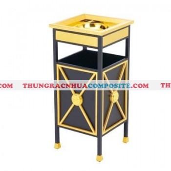Thùng đựng rác bằng kim loại thép mạ vàng có gạt tàn thuốc tại Hà Nội