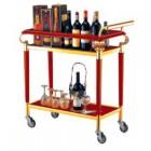 Xe đẩy phục vụ rượu 2 tầng bằng gỗ di động