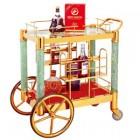 Xe đẩy tủ trưng bầy rượu xịn cao cấp bằng inox mạ vàng và đá xanh