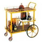 Xe đẩy phục vụ rượu bằng inox mạ vàng 3 tầng