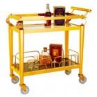 Xe đẩy phục vụ rượu inox vàng 2 tầng cao cấp
