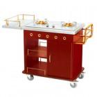 Bàn đẩy bếp di động có mặt bàn bằng inox có 2 bếp ga âm phục vụ ăn uống tại bàn