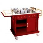 Tủ bếp đẩy di động có bếp ga nấu ăn tại bàn