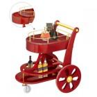 Xe đẩy phục vụ bàn rượu cao cấp bằng gỗ 2 tầng
