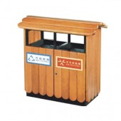 Thùng rác gỗ đôiphân loại rác hữu cơ, vô cơ