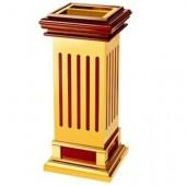 Thùng rác gỗ ốp inox mạ vàng