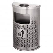 Thùng rác inox bán nguyệt có gạt tàn