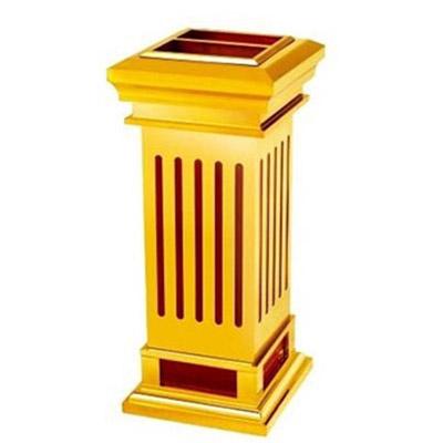 Thùng rác gỗ ốp inox mạ vàng có gạt tàn