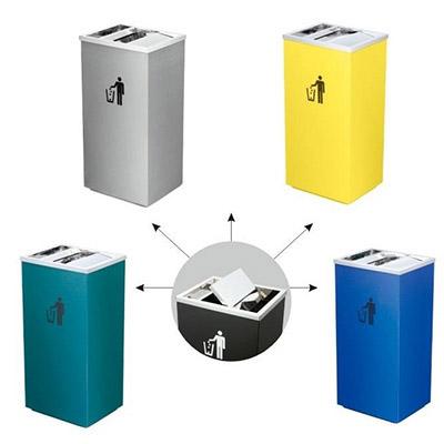 Thùng rác inox có gạt tàn nắp lật công cộng