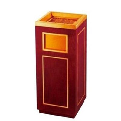 Thùng rác gỗ có gạt tàn thuốc lá bằng inox mạ vàng