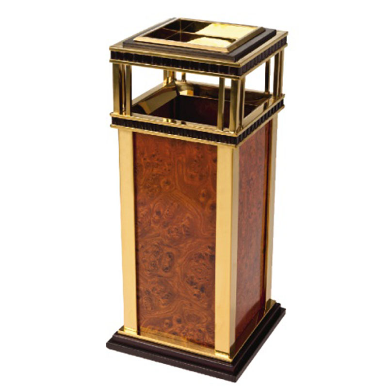 Thùng rác inox mạ vàng tấm ốp giả vân gỗ